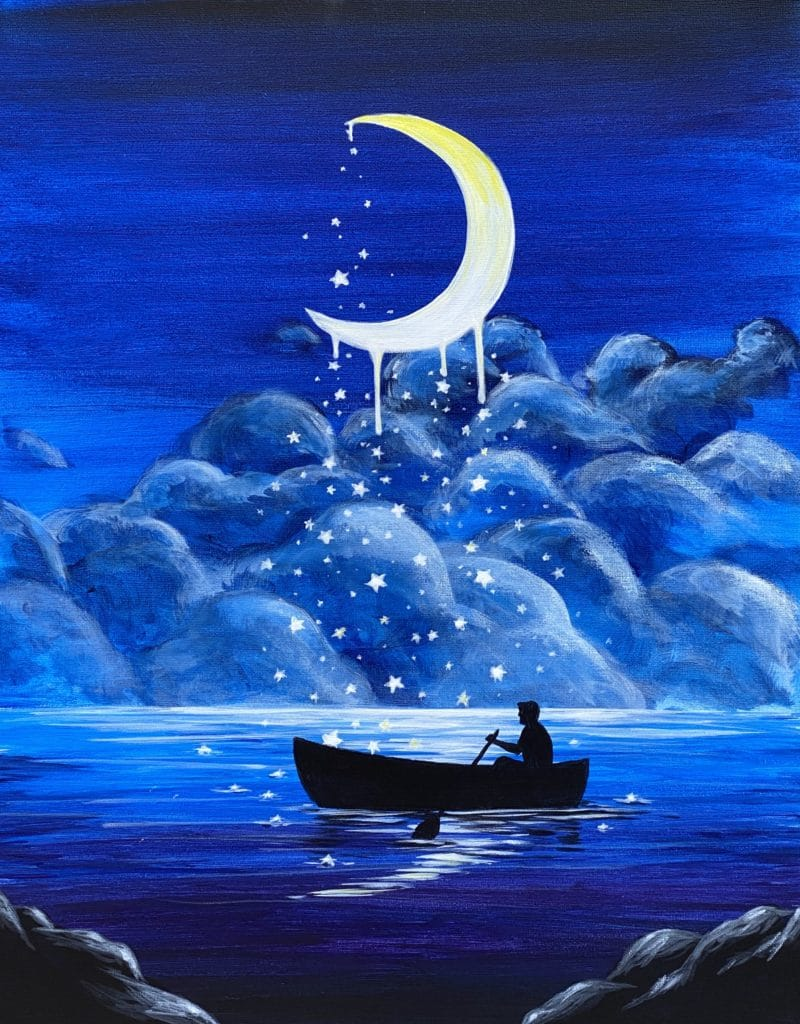 Crescent moon with starts that twinkle and fall to a lake below as a person in a canoe tries to catch them.